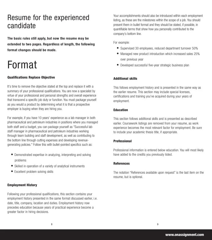 On Assignment Build Your Resume