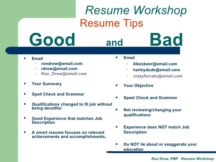 tips to a good resumes