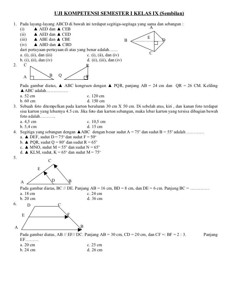 Soal Matematika Kelas 9 : matematika, kelas, Matematika, Semester, Kelas
