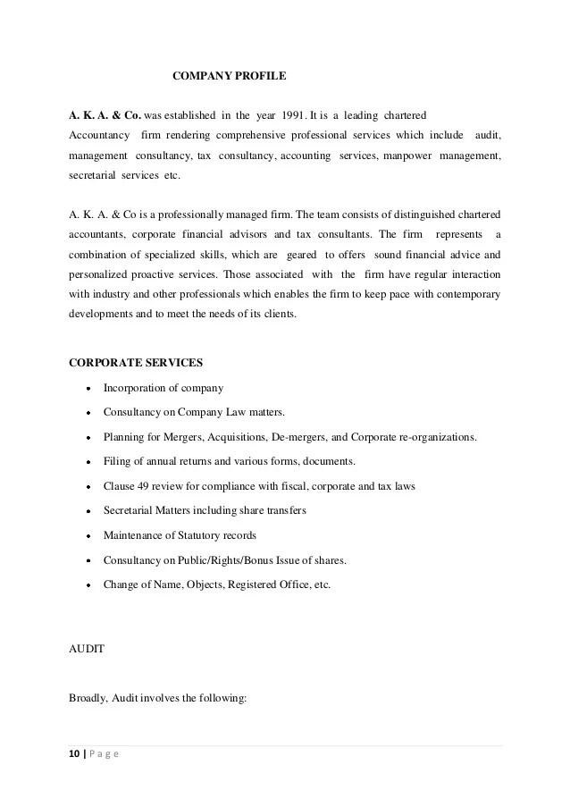 A K A & Co Internship Rpoject Report