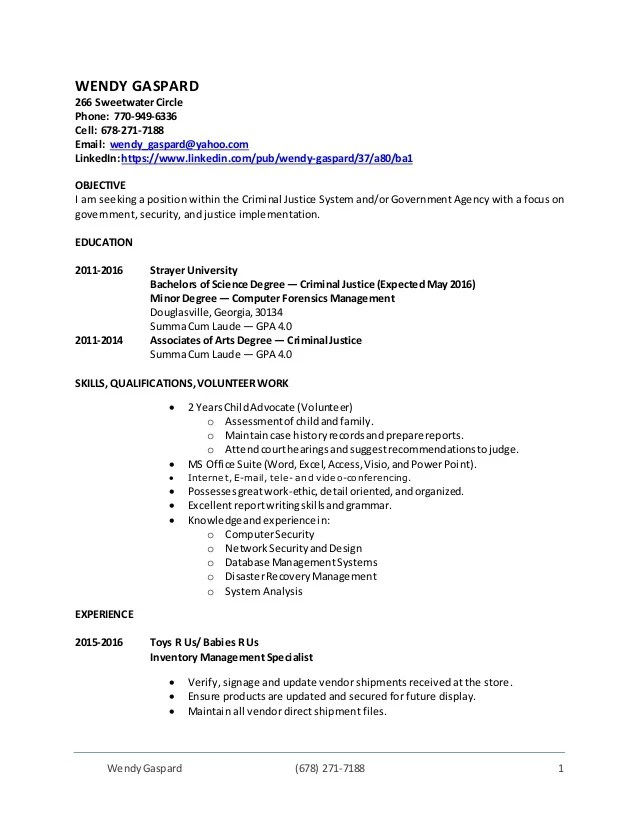Wendy's Resume