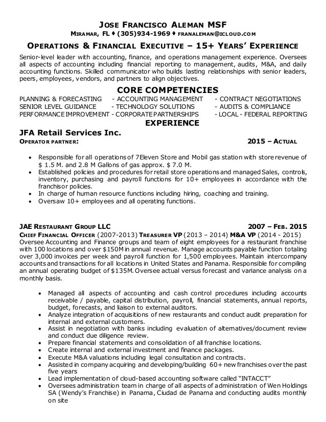 Jose Francisco Aleman - Resume 2 pag 012017