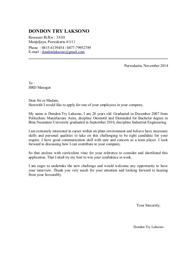 Cover Letter And CV Dondon November 2014
