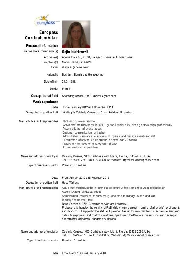 CV Sejla Ibrahimovic EU Format