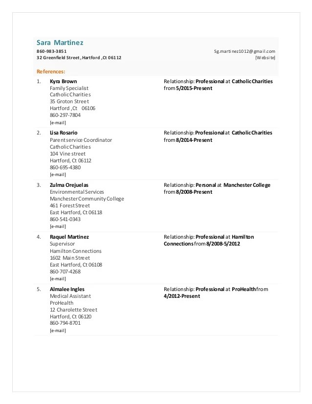 references sheet for resume