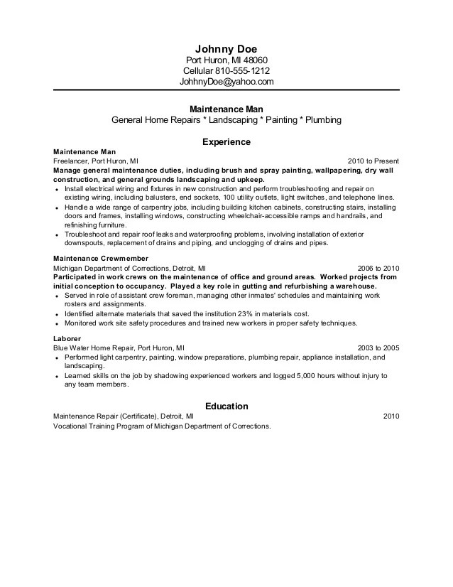 sample resume for ex inmates