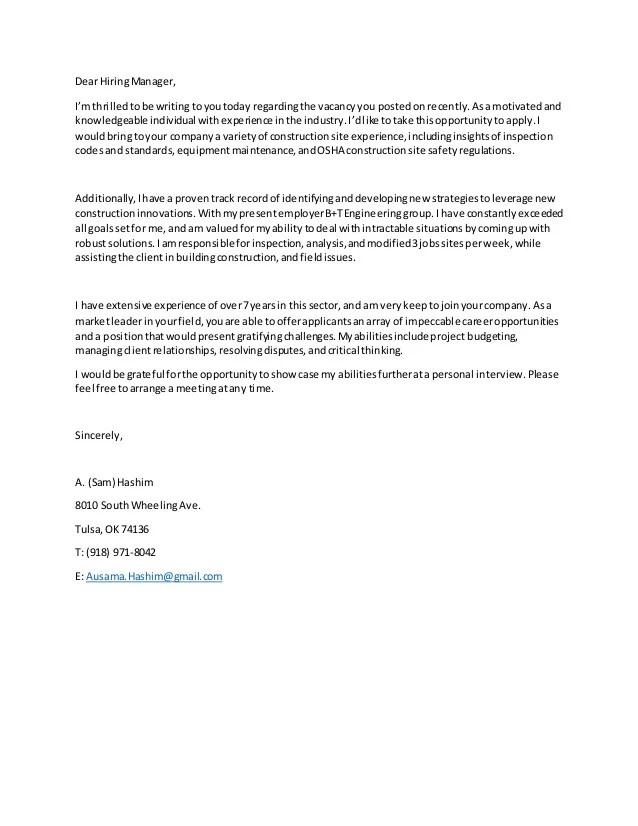 Cover letter of Sam Hashim EIT