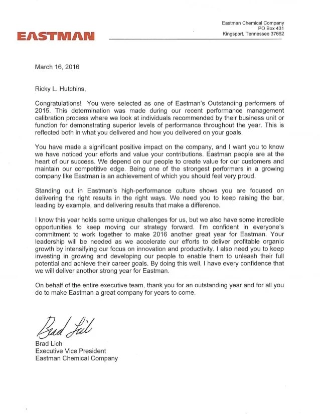 Performance Rating Letter 2015