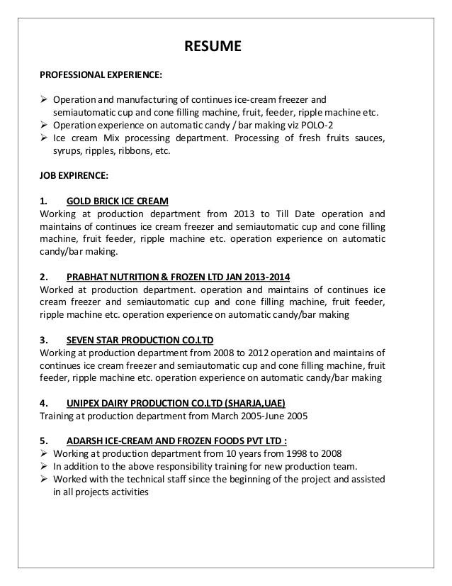 RESUME PARAB Production Operator
