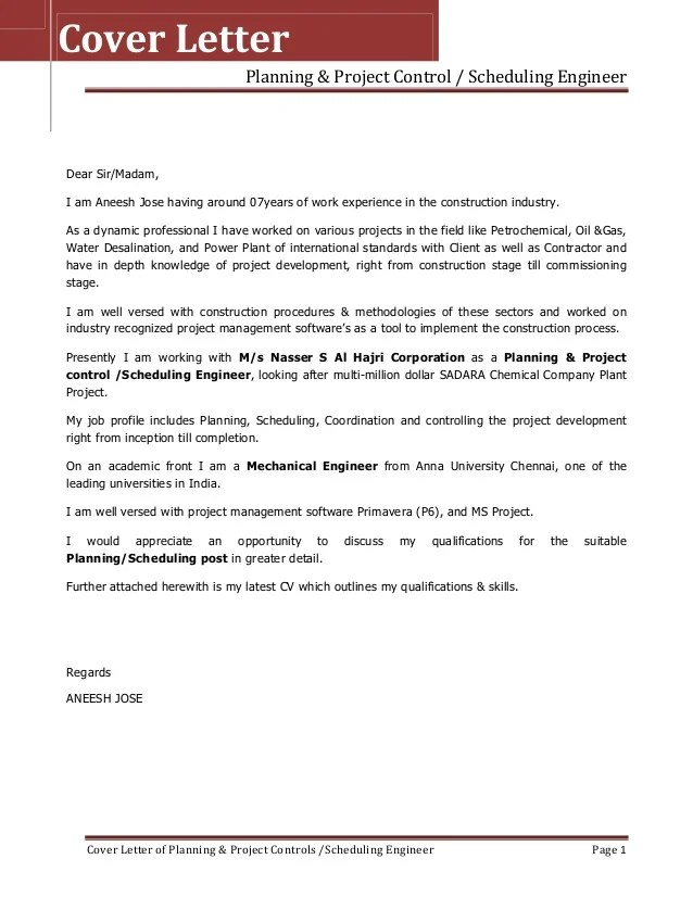 ResumeCover Letter For Aneesh Jose