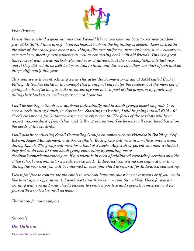 AAM Elementary Counselor Welcome Letter