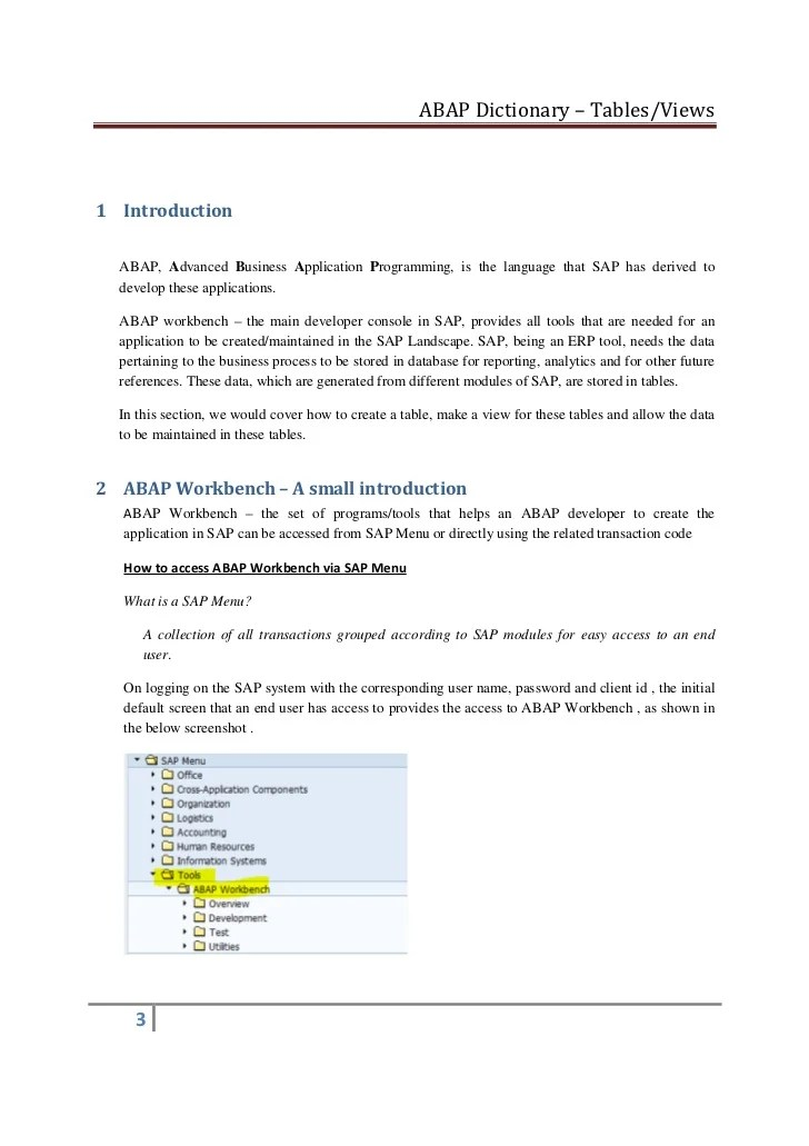 Abap dictionary transparent table creation and view generation