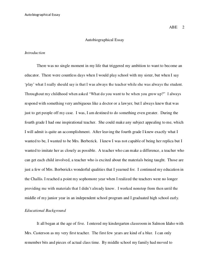 how to start a autobiographical essay