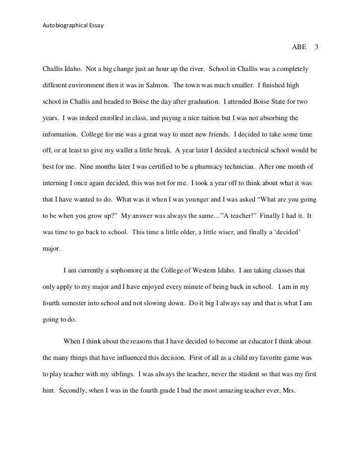 what is an autobiographical essay