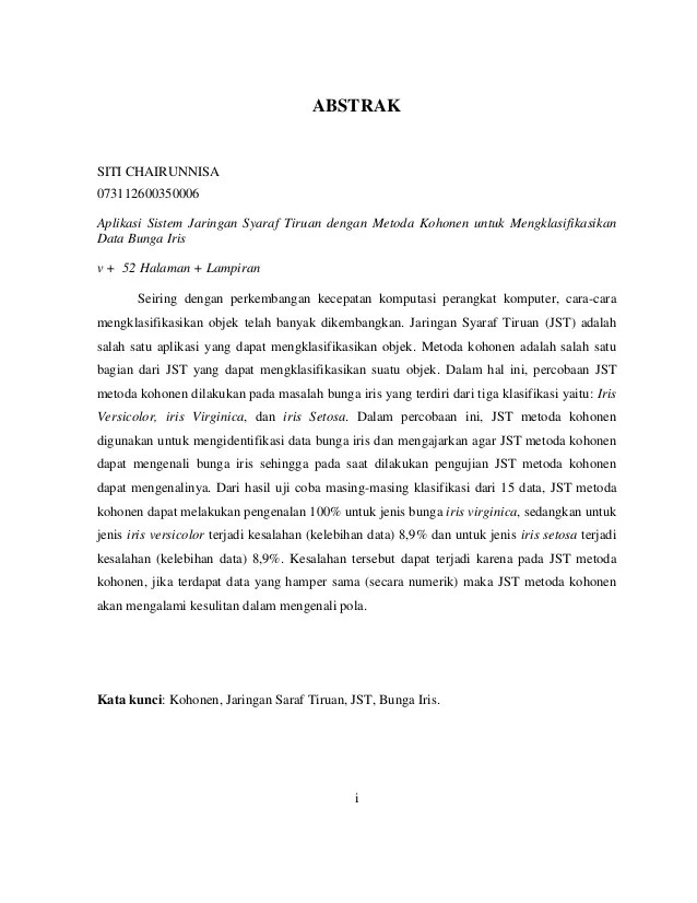 Contoh Abstrak Karya Ilmiah Makalah Jurnal Penelitian Dan Skripsi