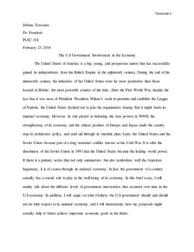 Us Government Essay The U S Government Involvement In The Economy