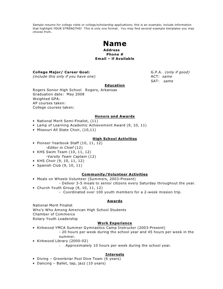 College Scholarship Resume Examples - Template
