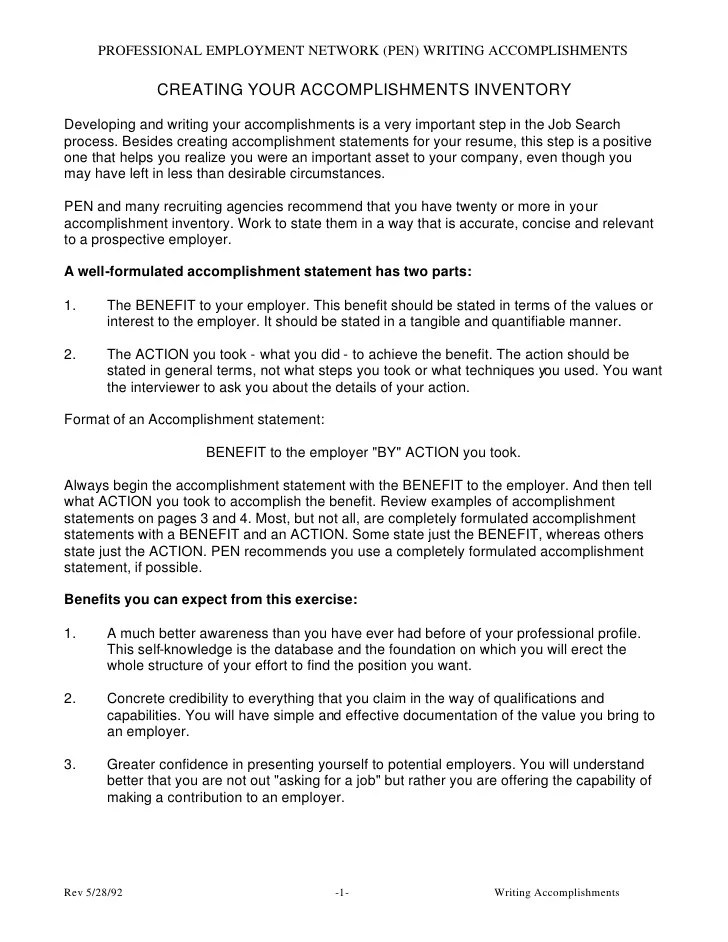 Accomplishment Samples  Resume Accomplishment Statements Examples