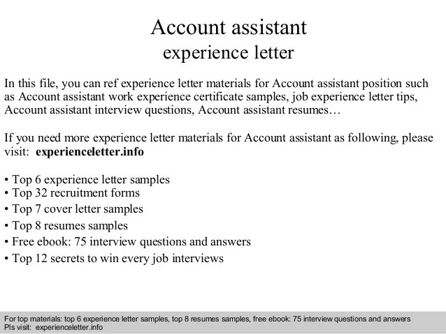 Account Assistant Experience Letter