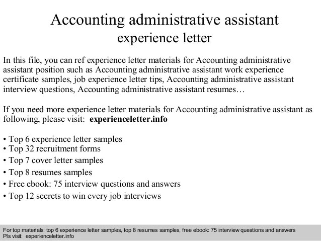 Accounting Administrative Assistant Experience Letter