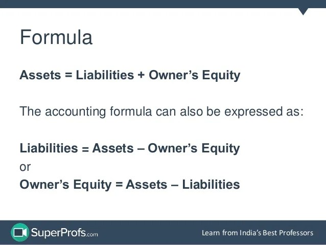 Accounting equation is simply an expression of the relationship among assets, liabilities and owner's equity in a business. Accounting Equation