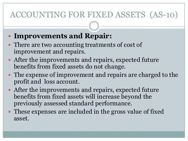Accounting for fixed assets as 10