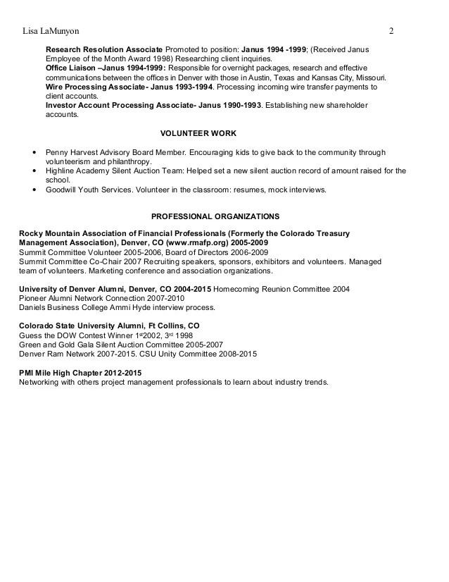 resume for volunteer board position