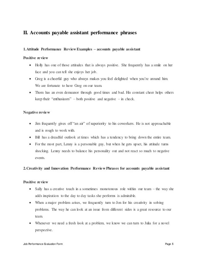 Accounts Payable Assistant Perfomance Appraisal 2