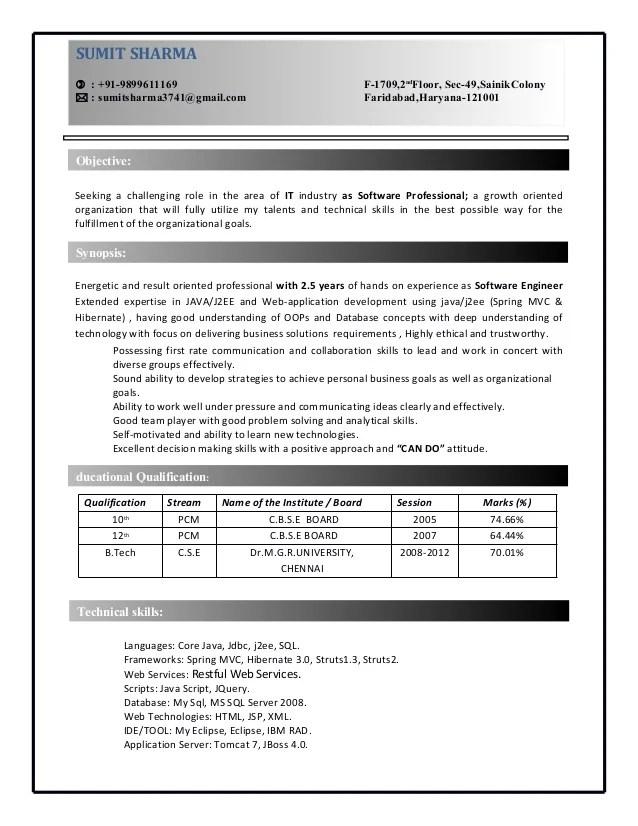 java aws resume sample