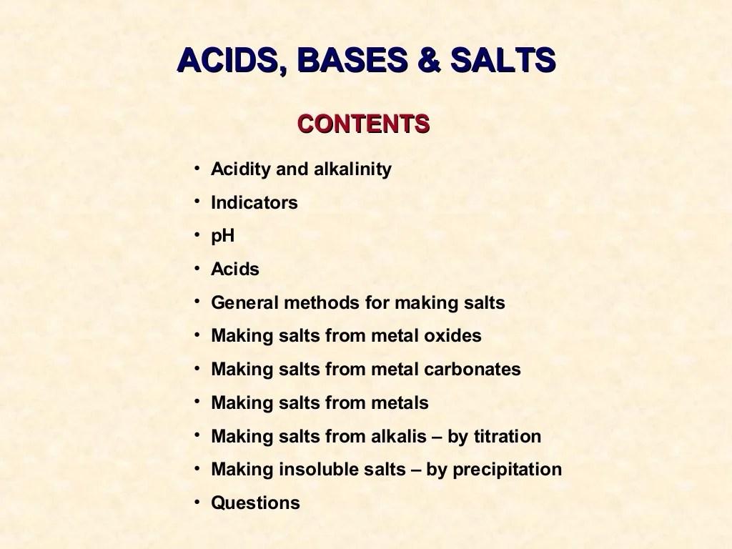 Acids Bases And Salts Igcse Chemistry