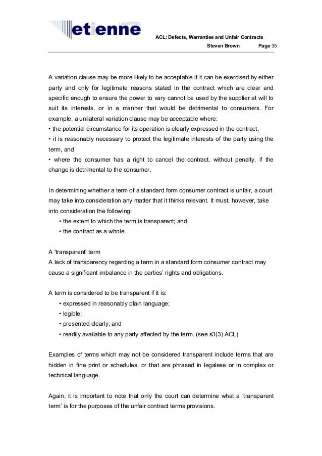 Australian Consumer Law Defects Warranties And Unfair