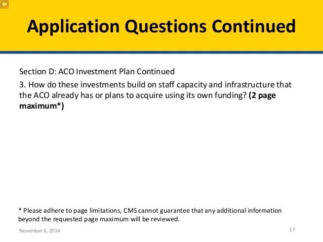 Webinar Aco Investment Model Application Assistance