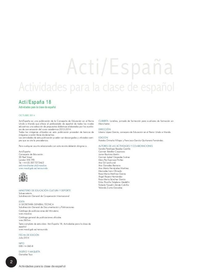 Acti Espaa 18 Actividades para la clase de espaol