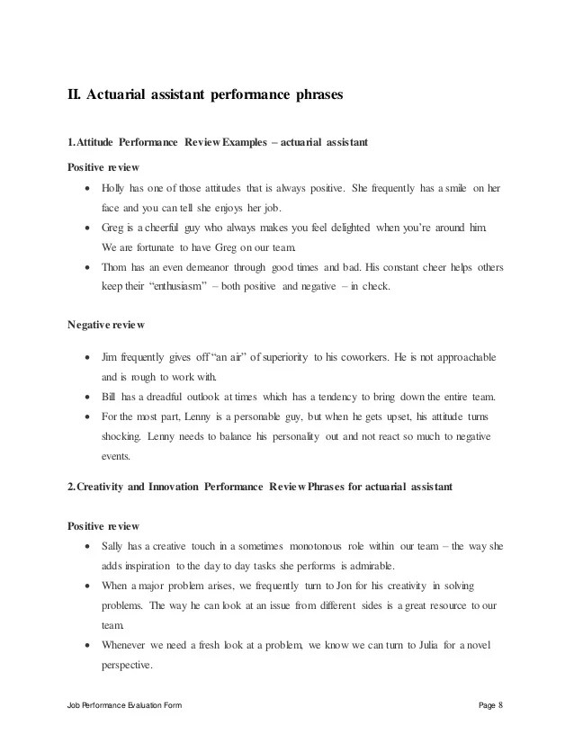 Actuarial Assistant Performance Appraisal