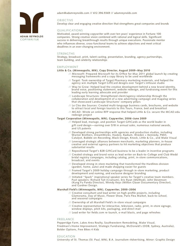 creative resume for copywriter