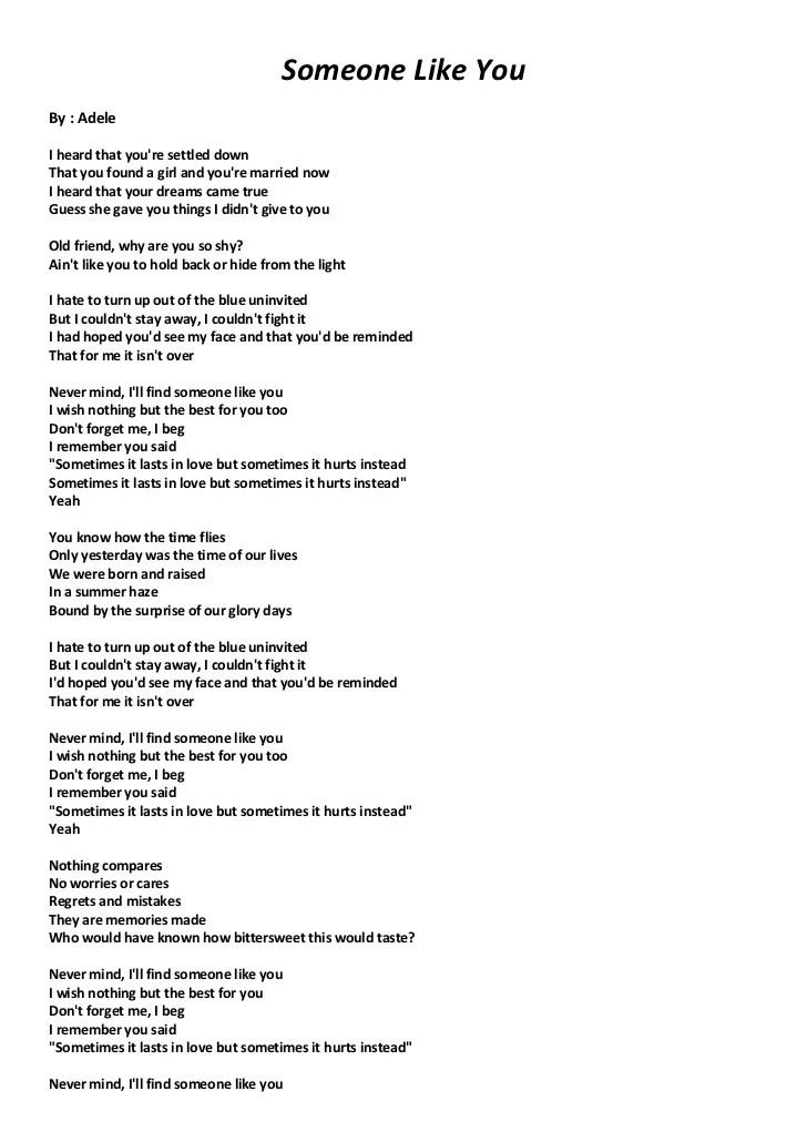 Adele - Someone Like You Lyrics | MetroLyrics