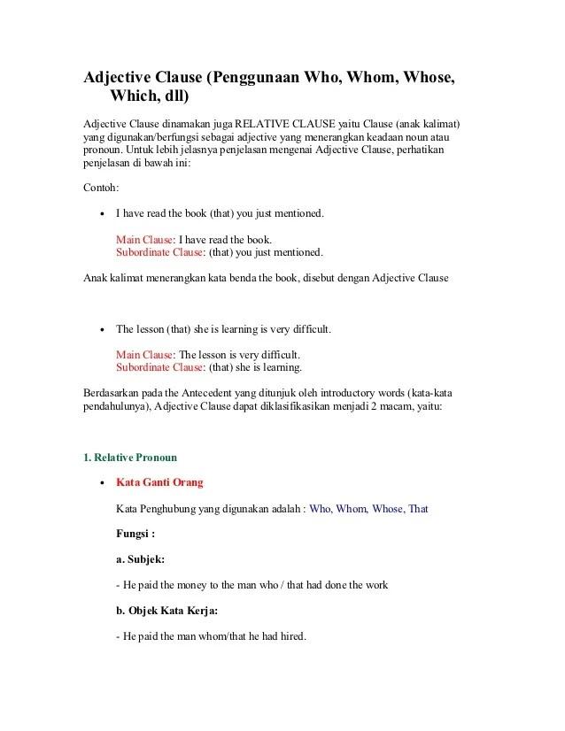 Contoh Kalimat Adjective Clause : contoh, kalimat, adjective, clause, Adjective, Clause