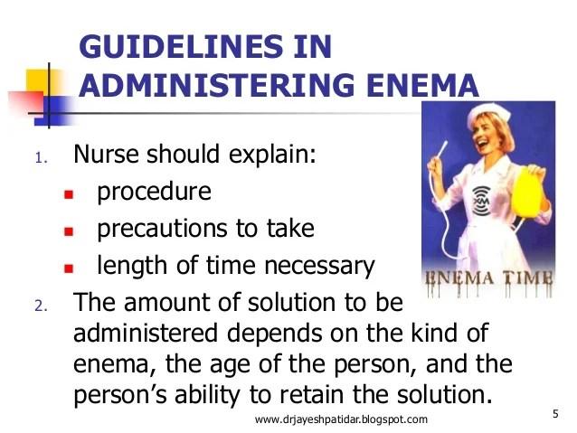 Administering enema