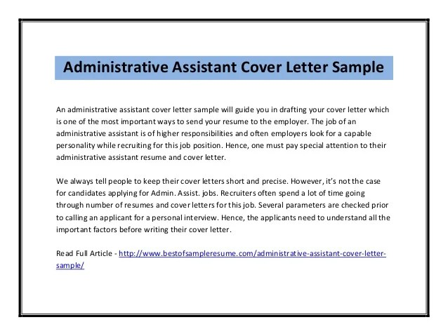 Cover Letters For Administration. Here Is A Cover Letter Sample To ...