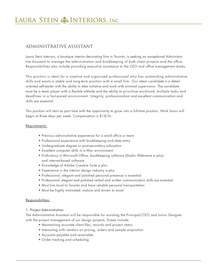 Administrative Assistant Job Posting