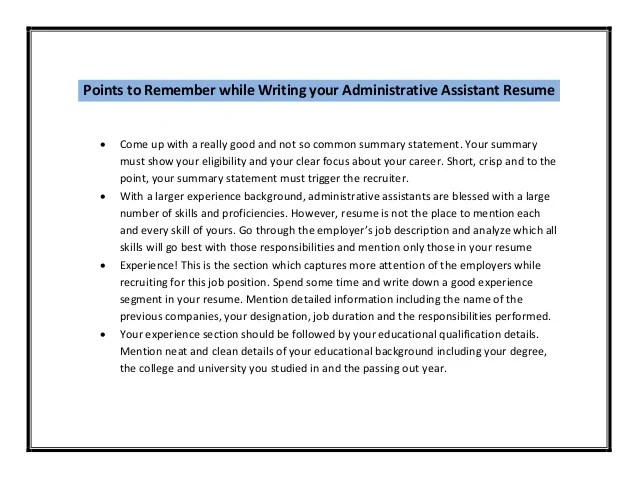 administrative assistant responsibilities resume
