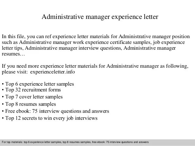 Administrative Manager Experience Letter