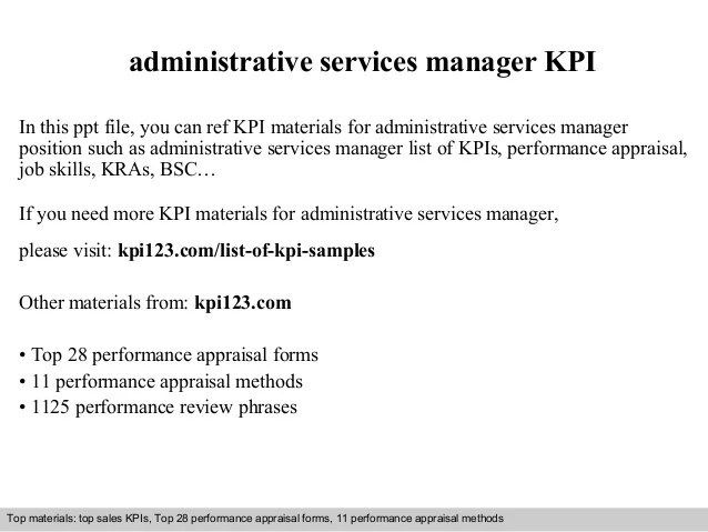 Administrative services manager kpi
