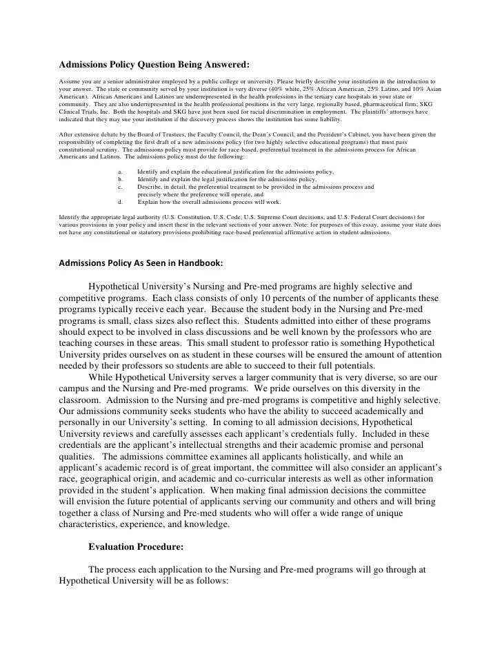 Admissions Policy And Essay