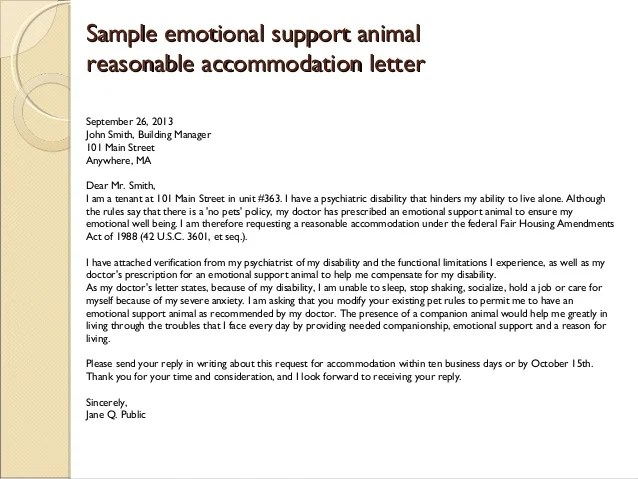 Emotional Service Dog Letter