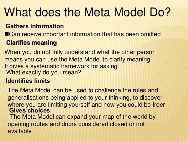 NLP Meta Model for Critical Thinking (2/3)