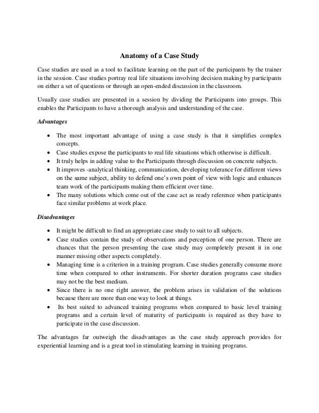 Advantages And Disadvantages Of Case Studies