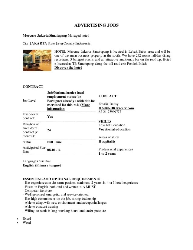 Contoh Lowongan Dan Surat Lamaran Kerja Bahasa Inggris Resep Kuini