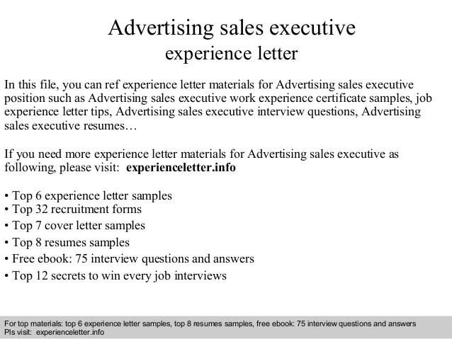 Advertising Sales Executive Experience Letter