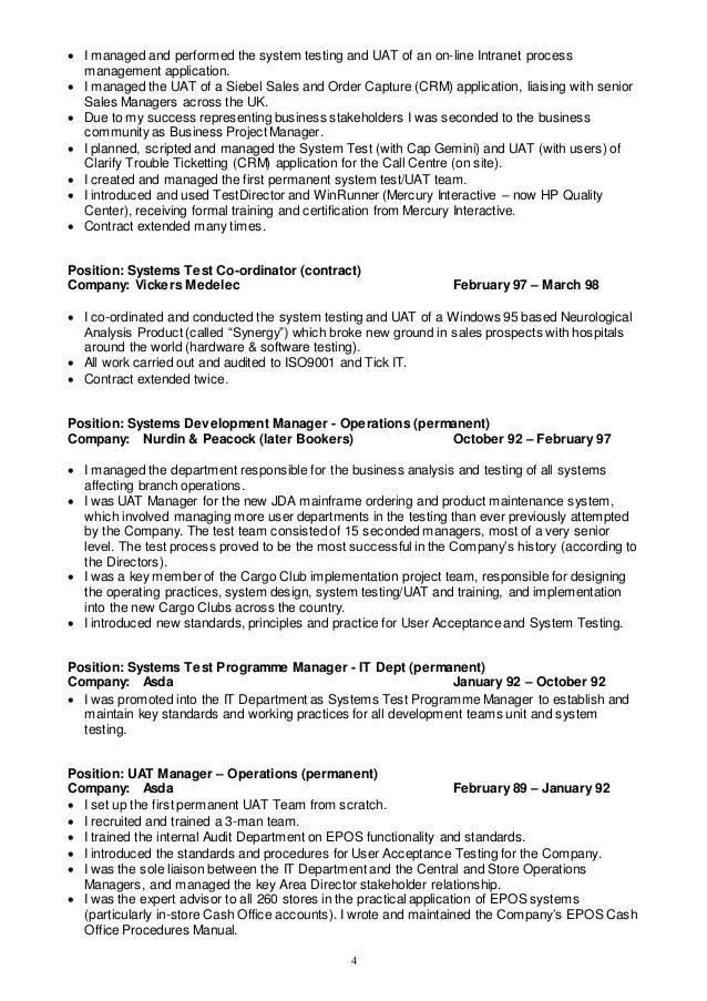 Test Manager Resume Summary Test Manager Cv Test Analyst Resume